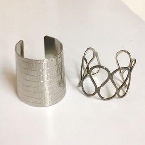 Dual Costume Silver Tone Metal Cuffs.